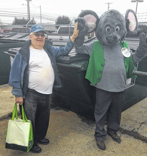 Buster the Mouse has been busy recognizing local residents who are recycling, including Alan Tapp.