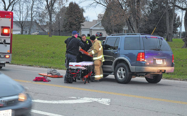 Two women were transported late Monday afternoon by life squad to Clinton Memorial Hospital following a two-vehicle collision in the North Nelson Avenue and Wayne Road intersection in Wilmington. Penelope S. Barlett, 61, of Hillsboro, was cited with running a red light, allegedly causing the accident. She was traveling north on Nelson Avenue. Miranda Lynn Captain, 43, of Wilmington, was driving west on Wayne when her 2012 Ford Fusion was struck on the driver's side by Barlett's 2002 Ford Explorer sport utility vehicle. In the official traffic report, the women's injuries are classified as non-incapacitating.