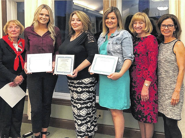 From left are: Carolyn Matthews, committee member; scholarship recipients Sidney Brewer, Jennifer Sparks and Cassandra Tagg; Pat Richardson, committee member; and Louanne Blumberg, Health Alliance President.