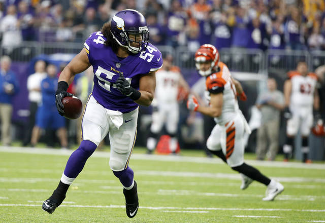 Minnesota Vikings middle linebacker Eric Kendricks returns an interception 31 yards for a touchdown during the first half of an NFL football game against the Cincinnati Bengals, Sunday, Dec. 17, 2017, in Minneapolis. (AP Photo/Bruce Kluckhohn)