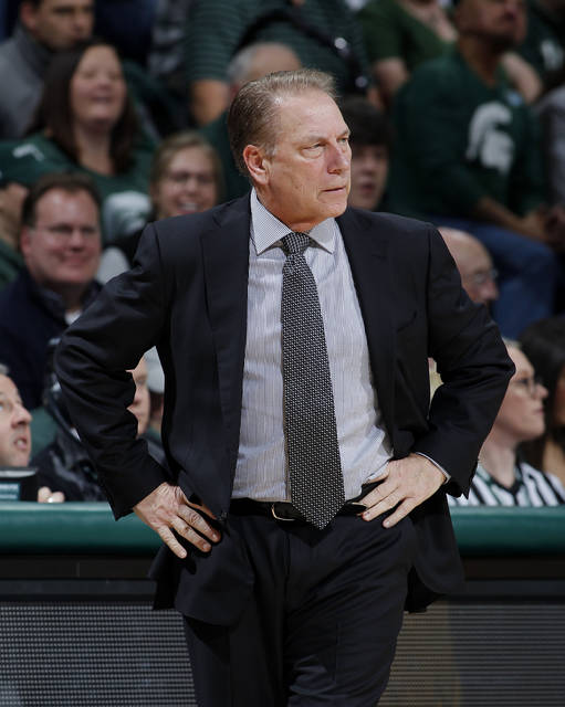 File- This Dec. 21, 2017, file photo shows Michigan State coach Tom Izzo reacting during the first half of an NCAA college basketball game against Long Beach State in East Lansing, Mich. The last two Big Ten teams to make the Final Four are off to wildly different starts this year. Stacked Michigan State looks like a favorite to return to the national semifinals for the first time since 2015, when Wisconsin gave the Big Ten a Final Four twosome. (AP Photo/Al Goldis, File)