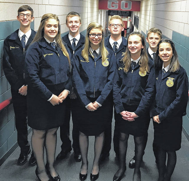 The East Clinton FFA Parliamentary Procedure teams competed in the District 9 competition Thursday evening. The teams have to use parliamentary law and Robert's Rules of Order to officially run a meeting. The advanced team of Ashley Kinner, Gracie McCarren, Taylor Boeckmann, Veronica brewer, Carlie Ellis and Logan McPherson placed third overall. The novice team of Holly Bernard, Carter Carey, Marci Ellis, Alexis Taylor, Maggie Mathews, Devon Slone, Trenton Garen and Quinten Tolle placed second overall, advancing to the state competition.