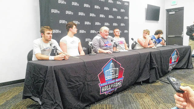 At the post-game press conference, Clinton-Massie seniors Luke Richardson, Sam Brothers, coach Dan McSurley, Trey Uetrecht, Weston Trampler and Cody Collingham answered questions from the media at Tom Benson Hall of Fame Stadium in Canton.