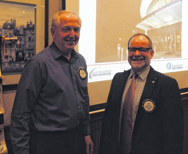 From left are Bob Schaad, President of the Wilmington Rotary Club, and Dan Evers,Executive Director of the Clinton County Port Authority.
