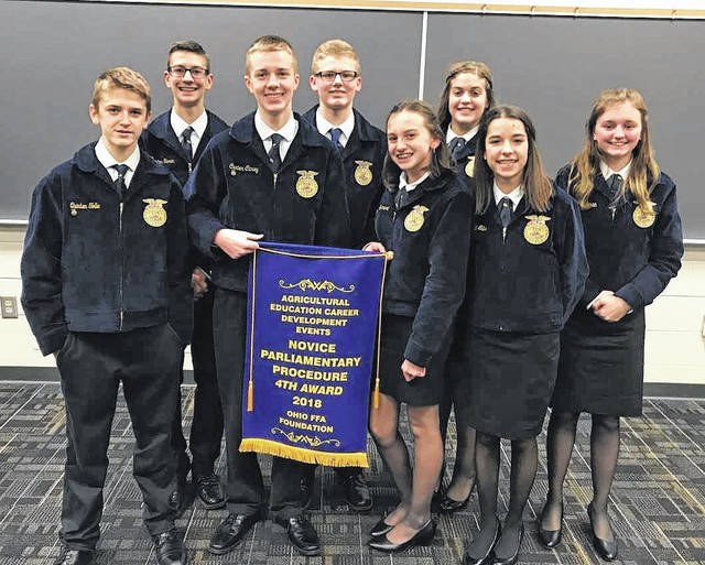 East Clinton FFA Finishes Top 5 in State Parliamentary Procedure The East Clinton FFA Novice Parliamentary Procedure team competed in the State Parliamentary Procedure contest at The Ohio State University on Dec. 16. In parliamentary procedure, the team has to officially run a meeting using Robert's Rules of Order as well as take a test and respond to oral questions. The team of President Holly Bernard, Vice President Carter Carey, Secretary Marci Ellis, Reporters Paige Bowman and Alexis Taylor (not pictured), Treasurer Trenton Garen, Student Advisor Maggie Mathews, Sentinel Devon Slone and Member Quinten Tolle competed and placed fourth overall in the state and earned a banner for East Clinton. The team previously qualified by placing first at Sub-Districts and second at Districts. The team thanks all the teachers, parents and helpers for their support in this contest.