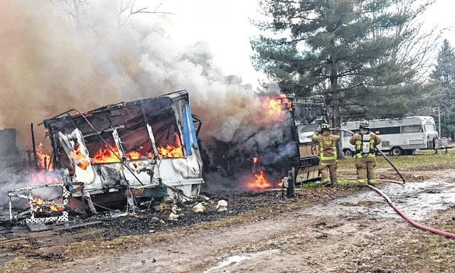 The Clinton-Warren Joint Fire District responded to a fully engulfed mobile home fire at 4880 SR 350, Clarksville Tuesday morning, according to the fire district. The mobile home and contents were a total loss, as was a 24-foot motor home. The fire remains under investigation with no estimate of a dollar loss at this time. The mobile home was occupied by Jason McCoomis, his girlfriend and three children, authorities said. The CWJFD responded with eight firefighters, one engine, one tanker and a life squad.