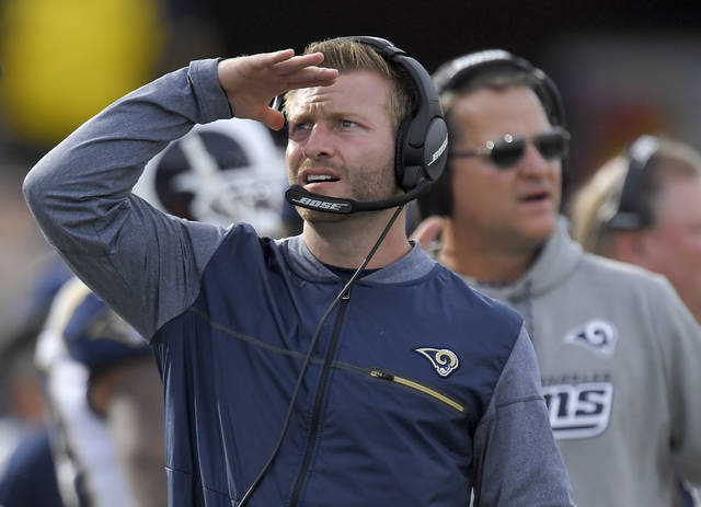 FILE - In this Dec. 10, 2017, file photo, Los Angeles Rams coach Sean McVay watches during the first half of the team's NFL football game against the Philadelphia Eagles in Los Angeles. McVay is now the youngest coach the make the postseason. The Rams face the Atlanta Falcons in a wild-card playoff game Saturday. (AP Photo/Mark J. Terrill, File)