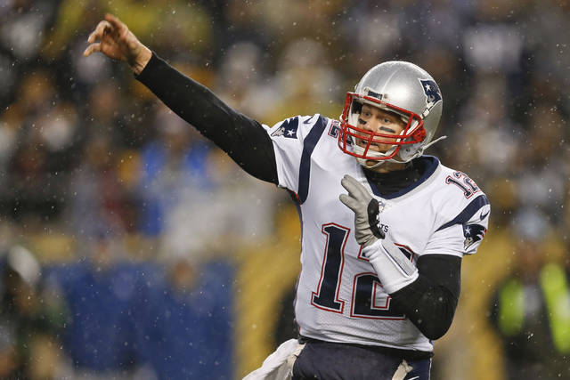 FILE - In this Dec. 17, 2017, file photo, New England Patriots quarterback Tom Brady (12) plays against the Pittsburgh Steelers, in an NFL football game, in Pittsburgh.  If Brady's history against Tennessee is any indication, New England's prospects of making it back to the AFC title game look promising. Brady is 6-0 in his career against Mike Mularkey-coached teams. Including the playoffs, he's 6-1 against the Titans with 13 passing touchdowns and just one interception in those games. It is his best touchdown to interception ratio against any opponent in his career.(AP Photo/Keith Srakocic, File)