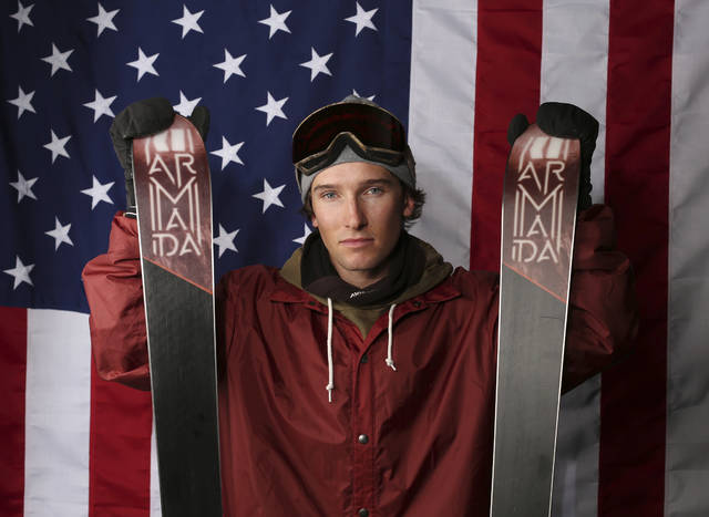 FILE - In this Tuesday, Sept. 26, 2017, file photo, halfpipe skier Torin Yater-Wallace poses for a portrait at the U.S. team media summit in Park City, Utah. In spite of many obstacles in his life, Yater-Wallace is on the precipice of making another U.S. Olympic team. (AP Photo/Rick Bowmer, File)