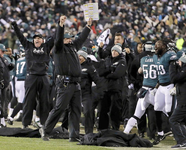 FILE - In this Saturday, Jan. 13, 2018, file photo, Philadelphia Eagles coach Doug Pederson, center, celebrates a defensive stop on fourth down in the second half of an NFL divisional playoff football game against the Atlanta Falcons in Philadelphia. The Eagles are home underdogs again in the NFC championship game against Case Keenum and the Minnesota Vikings.(AP Photo/Chris Szagola, File)