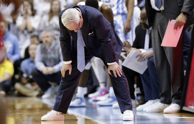 North Carolina head coach Roy Williams reacts during the second half of an NCAA college basketball game against North Carolina State in Chapel Hill, N.C., Saturday, Jan. 27, 2018. North Carolina State won 95-91. (AP Photo/Gerry Broome)