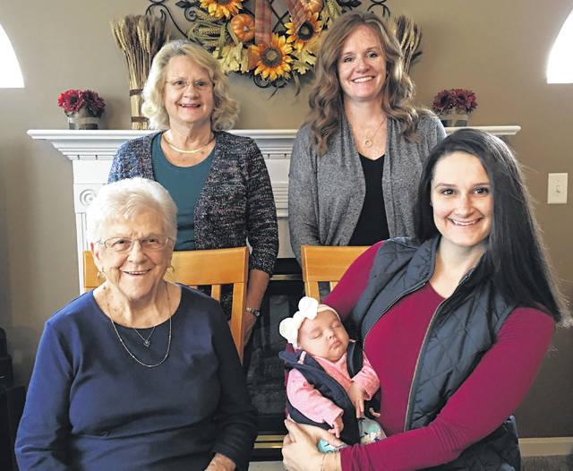 Five generations recently gathered for a photo that includes, from left: front, great-great-grandmother Jane Thompson of Wilmington, and Courtney Norris of Dublin holding her daughter, four-month-old Evelyn; and in back, great-grandmother Sharon Vipperman of Waynesville and grandmother Tina Minnix of Beavercreek.