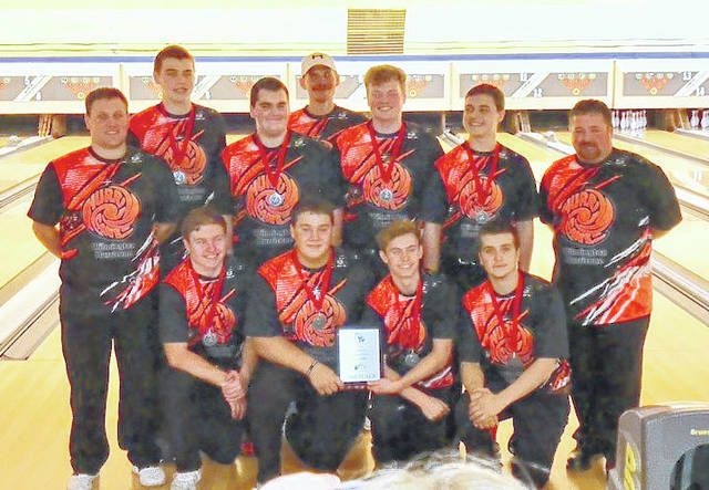 The Wilmington High School boys bowling team, runnersup in the Cardinal Classic bowling tournament at Colerain Bowl, from left to right, front row, Conner Mitchell, Zach Zeckser, Brayden Rhoads, Troy Moredock; middle row, coach Joe Gigandet, Elijah Martini, Grant Pickard, Zach Davis, coach Josh Fisher; back row, Tristan Reiley and coach Chris Reiley.