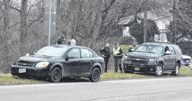 Two vehicles were involved in an accident at the intersection of U.S. 22 and North Nelson Avenue next to MacD's Pub on Monday.