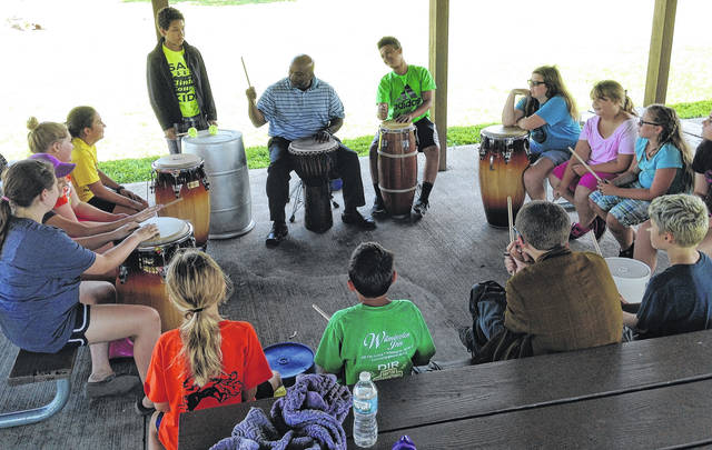 Shown is the drumming group, featuring Chip Murdock, that is part of the Good Fairy Program at the Murphy Theatre. They were recipients for the Lucas Fund in 2017.