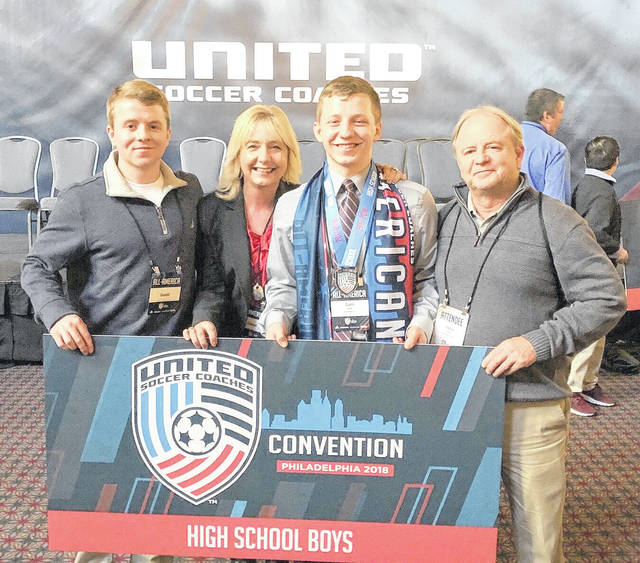Sam Spirk, a senior at Wilmington High School, officially received his prep soccer All-America honor Saturday at the Pennsylvania Convention Center. One of 67 high school boys named to the 2017 United Soccer Coaches Association All-America team, Spirk was honored during the 2018 United Soccer Coaches Convention in Philadelphia. In the photo, Spirk (second from right) is shown, from left to right, with his brother Ben, mother Kathi and father Steve.