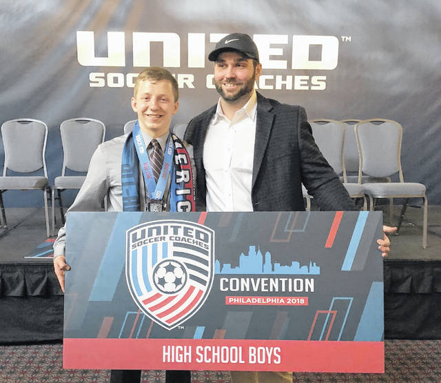 Sam Spirk and WHS assistant coach Luca Terrigno at the Pennsylvania Convention Center.