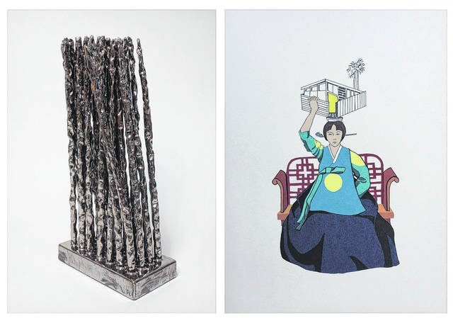 """Brian Zimerle's 2017 glazed ceramic titled """"Thrice"""", left, and Annie Lee Zimerle's 2017 serigraphy are two of the pieces comprising their exhibit titled """"Collective Memory."""""""