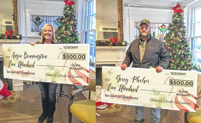 Angie Bennington and Gerry Phelps each took home the grand prize of $500 during the final week of the $25 Days of Christmas.