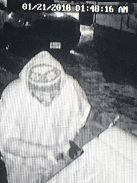 The suspect of an alleged theft caught on security cameras at a North Wall Street residence.
