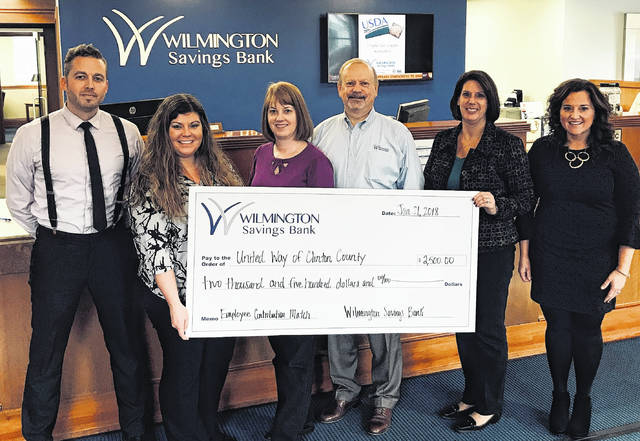Employees of Wilmington Savings Bank were proud to present $2,500 employee contribution match to the United Way of Clinton County. From left are Jake Dehart, Beth Coil, Rebeka Hamilton, Gene Coffman, Nancy Wolary and Amanda Harrison with United Way.