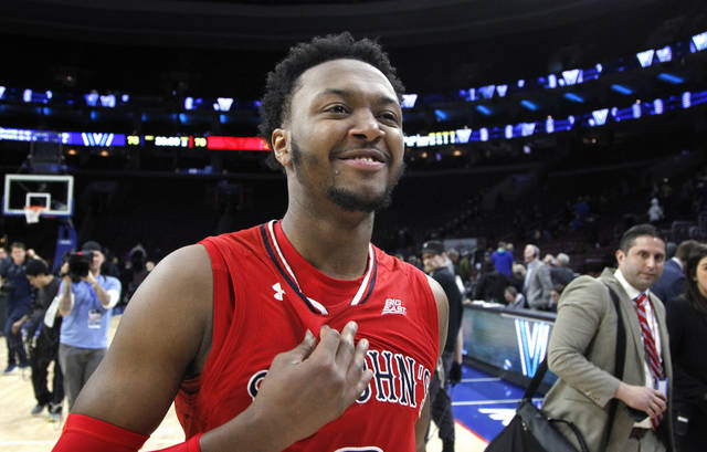 St. John's guard Shamorie Ponds reacts after his team defeated Villanova 79-75 in an NCAA college basketball game Wednesday, Feb. 7, 2018, in Philadelphia.(AP Photo/Laurence Kesterson)