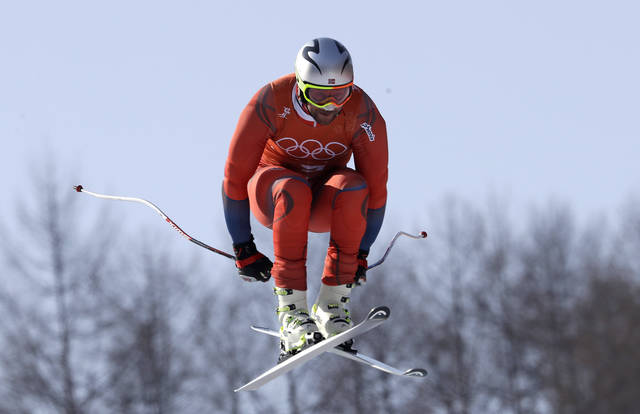 Norway's Aksel Lund Svindal makes a jump in Men's Downhill training at the 2018 Winter Olympics in Jeongseon, South Korea, Thursday, Feb. 8, 2018. (AP Photo/Luca Bruno)