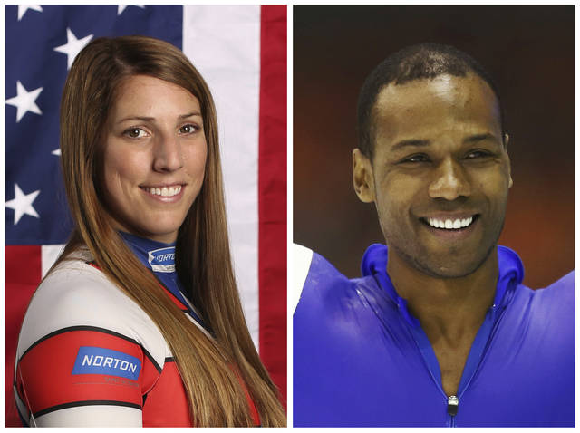 """This combination of images shows United States' athletes Erin Hamlin, left, and Shani Davis. A tweet posted to the account of Davis is blasting the selection of luge athlete Hamlin as the U.S. flagbearer for the opening ceremony at the Pyeongchang Games. The tweet says the selection was made """"dishonorably,"""" and included a reference to Black History Month in a hashtag. Hamlin and Davis each got four votes in the final balloting of the athlete-led process.  (AP Photos/File)"""