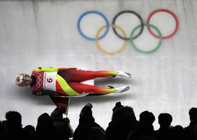 Natalie Geisenberger of Germany competes in her third run during the women's luge final at the 2018 Winter Olympics in Pyeongchang, South Korea, Tuesday, Feb. 13, 2018. (AP Photo/Wong Maye-E)
