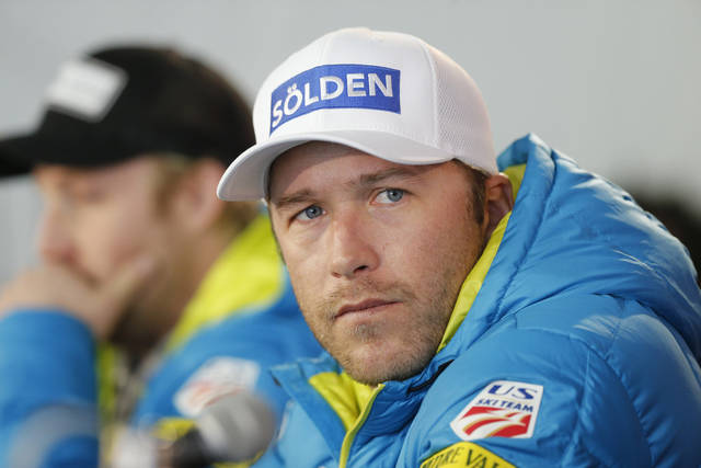 FILE - In this Feb. 2, 2015, file photo, USA men's ski team member Bode Miller participates in a news conference at the alpine skiing world championships, in Beaver Creek, Colo. Miller, working as an NBC ski analyst, had to apologize after suggesting that matrimony is hazardous to your career, at least if you're a female skier.  (AP Photo/Brennan Linsley, File)