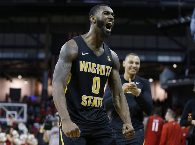 Wichita State forward Rashard Kelly (0) celebrates the team's 76-72 win over Cincinnati in an NCAA college basketball game, Sunday Feb. 18, 2018, in Highland Heights, Ky. (AP Photo/Gary Landers)