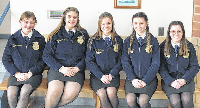 Five East Clinton FFA members competed in the Sub-District Public Speaking competition Feb. 8 at Blanchester High School. — Maggie Mathews, Paige Bowman, Carlie Ellis, Sarah Ross and Taylor Boeckmann. Maggie Mathews placed first in the FFA Creed competition while Paige Bowman was third. In the Extemporaneous contest Carlie Ellis also placed first. Taylor Boeckmann placed first in Prepared and Sarah Ross placed third in the Beginning prepared competition. Taylor, Carlie and Maggie will be moving on to district Tuesday, Feb. 13 at Felicity.
