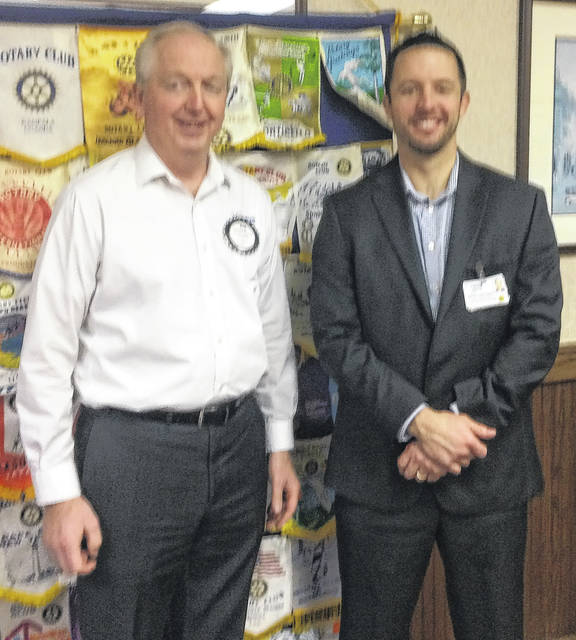 Bob Schaad, President of the Wilmington Rotary Club, with Greg Nielsen, Chief Executive Officer of Clinton Memorial Hospital.
