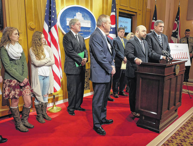 Speaker of the House Cliff Rosenberger (R-Clarksville) speaks at the press conference.