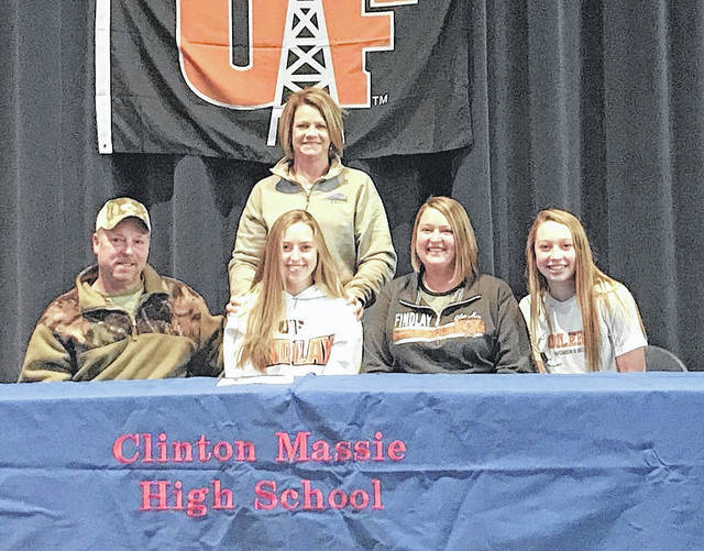 Clinton-Massie senior Kelsey Carter will continue her soccer career at the University of Findlay, an NCAA Division II institution located in northwest Ohio. In the photo, from left to right, father Rob Carter, Kelsey Carter, mother Debbie Carter and sister Lindsey Carter.