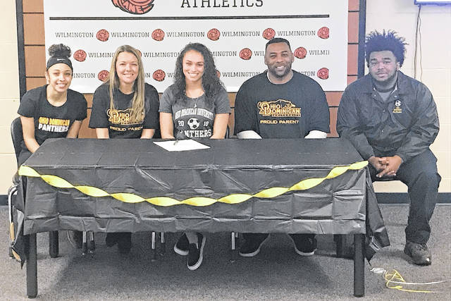 Wilmington High School senior Katlyn Jamiel has signed to play soccer in college at Ohio Dominican University, an NCAA Division II school in central Ohio. In the photo, from left to right, sister Jasmine Jamiel, mother Susan Jamiel, father Judah Jamiel and brother Marquis Preston.