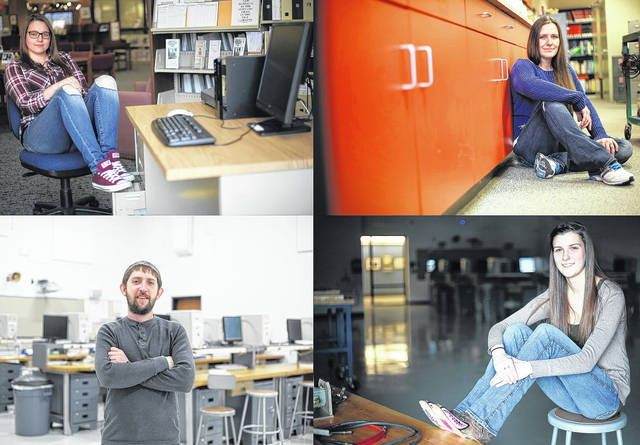 Students enrolled in SSCC engineering programs share their stories with those who may be considering a similar pathway. Clockwise from top left are Dawn Pollock, Tiffany Brownlee, Courtney Ridenour and Brandon Burke.