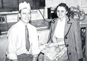 """The """"ice cream people"""" — Charles and Helen Semler inside the first Semlers Ice Cream shop on Pennsylvania Avenue at the junction with A Street (circa 1948-1949)."""