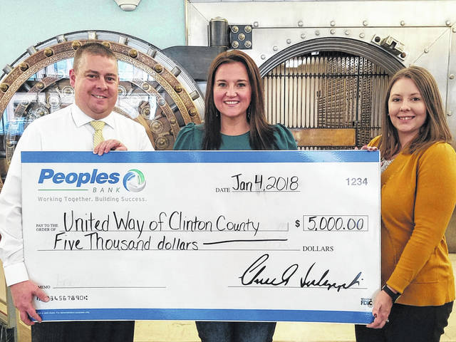"""United Way of Clinton County was recently presented with a $5,000 corporate donation from Peoples Bank. Because of generous donors like Peoples Bank, United Way is able to partner with 30 local agencies and help serve more than 20,000 people in the local community. We greatly appreciate your continued support,"""" said the local United Way. """"Thank you for your generosity and your commitment to give back to Clinton County."""" Pictured are Chad Beam, United Way President/CEO Amanda Harrison, and Betty Mayer."""