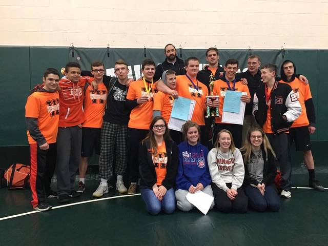 The Wilmington High School wrestling team, runnersup in the Division II Batavia Sectional wrestling tournament Saturday at BHS.
