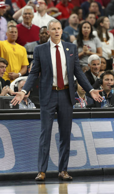 Southern California coach Andy Enfield reacts to a call during the second half of the team's NCAA college basketball game against Arizona for the Pac-12 men's tournament championship Saturday, March 10, 2018, in Las Vegas. Arizona won 75-61. (AP Photo/Isaac Brekken)