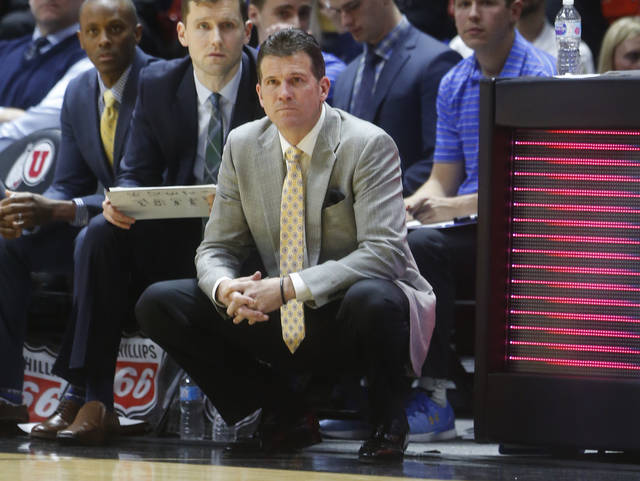 FILE - In this Feb. 22, 2018, file photo, UCLA coach Steve Alford watches the first half of  an NCAA college basketball game against Utah in Salt Lake City. Alford, who has led the Bruins to the NCAA Tournament for the fourth time in five seasons, said he was surprised they were picked last and were sent to Dayton. (AP Photo/Rick Bowmer, File)
