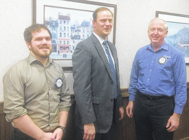 Kyle Knepp, District Executive of the Boy Scouts and Rotary Member, Rob Lavoie, Executive Director of Boy Scout's Tecumseh Council, and Bob Schaad, President of Wilmington Rotary.