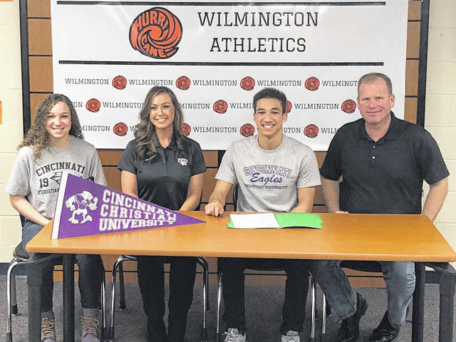 Wilmington High School's Ryland Bowman will continue his education and run track at Cincinnati Christian University next year. Shown from left are Sadie Bowman, Victoria Bowman-Ellen, Ryland Bowman, and Dan Ellen.