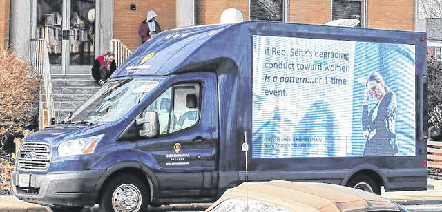 """The Checks and Balances Project """"mobile billboard"""" made stops in Clinton County on Monday as it traveled through the 91st District."""