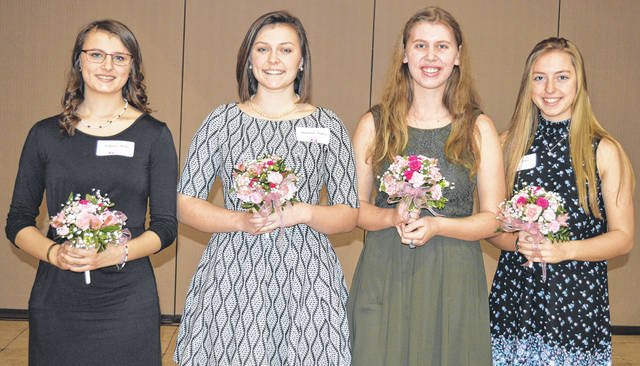 The Outstanding Women of Clinton County 2018 scholarship winners are, from left, Shelby Williams of East Clinton, Audrey Heitzman of Blanchester Schools, Heather Fryman of Wilmington Schools, and Kelsey Carter of Clinton-Massie.