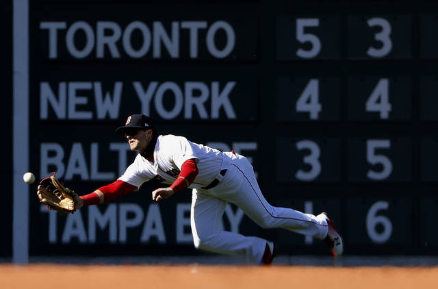 Boston Red Sox's Andrew Benintendi makes a catch on Tampa Bay Rays' Brad Miller during the ninth inning of the Red Sox 10-3 win in a baseball game at Fenway Park in Boston, Saturday, April 7, 2018. (AP Photo/Winslow Townson)