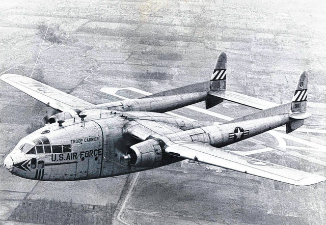 The mid-air collision of two C-119 aircraft like this one resulted in 17 deaths in Clinton County in 1964.