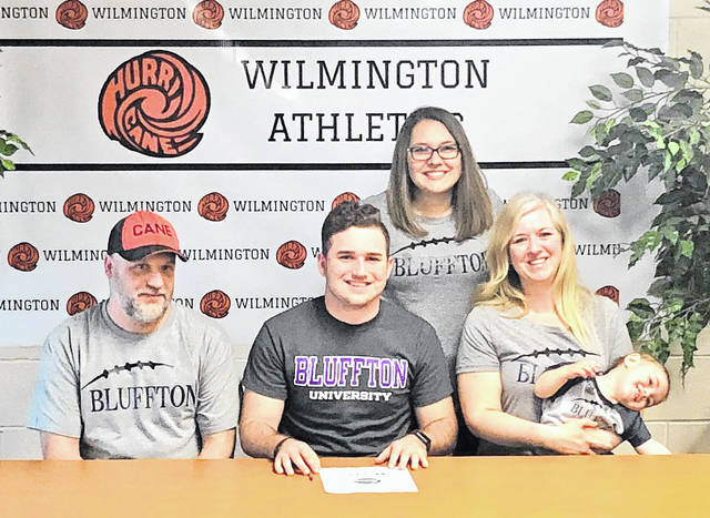 Wilmington High School senior Kyler Reed has chosen to play football at Bluffton University this fall. In the photo, from left to right, front row, Chad Reed, Kyler Reed, Dusty Reed and Ryker; back row, Courtney Reed.
