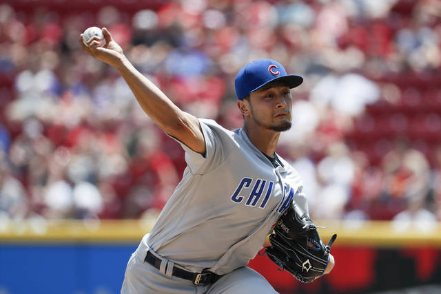 Chicago Cubs starting pitcher Yu Darvish throws in the second inning of a baseball game against the Cincinnati Reds, Sunday, May 20, 2018, in Cincinnati. (AP Photo/John Minchillo)